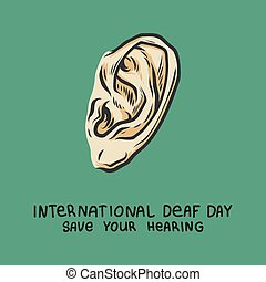 Deaf day green concept background, hand drawn style