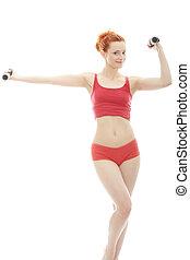 Deaf girl exercising
