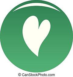 Deaf heart icon vector green - Deaf heart icon. Simple...