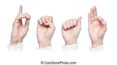 'deaf', słowo, język, znak
