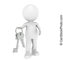 3D little human character holding a pair of Keys.