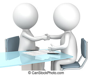 3D little human characters X2 making a deal. Business People series.
