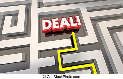 Deal Closed Sale Contract Save Money Maze 3d Illustration