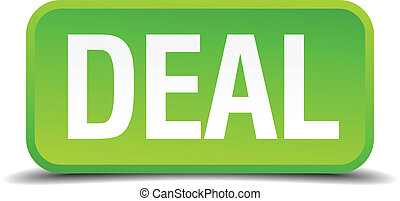 Deal green 3d realistic square isolated button