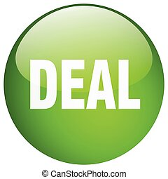 deal green round gel isolated push button
