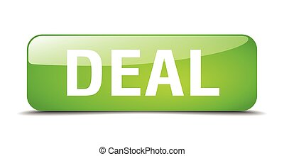 deal green square 3d realistic isolated web button