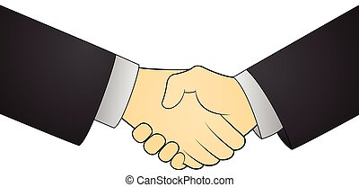 Illustration of deal handshake isolated on white background