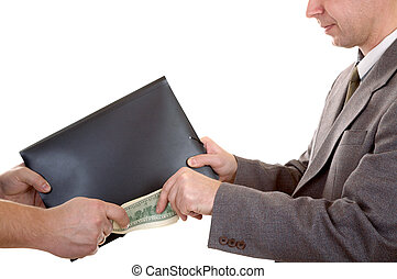 Deal - Man\'s hand with dollars and folder isolated at the...