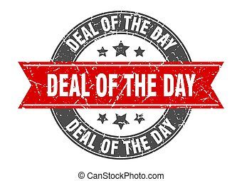 deal of the day round stamp with ribbon. label sign