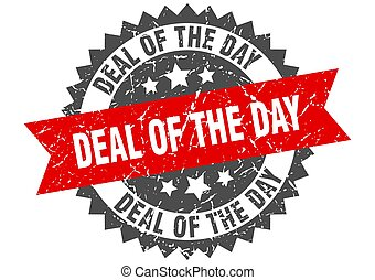 deal of the day stamp. grunge round sign with ribbon