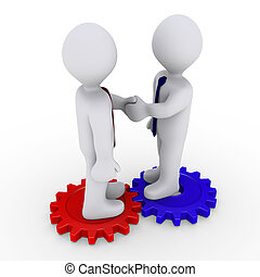 Two 3d businessmen shake hands on different cogwheels