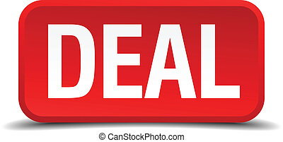 Deal red 3d square button isolated on white background