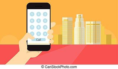 deal, telefon antal, hånd, celle, ansøgning, hidkalde,...
