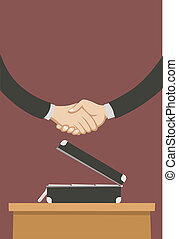 two business men closing a deal with a handshake