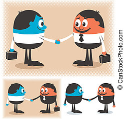 Two cartoon characters handshaking. Below are 2 additional versions of the illustration. No transparency and gradients used.