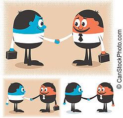 Deal - Two cartoon characters handshaking. Below are 2...