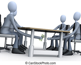 Deal Under The Table - 3d people making a deal under the ...