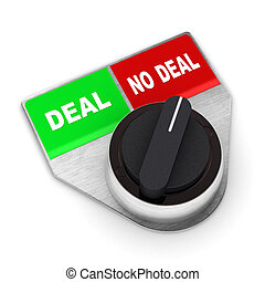 A Colourful 3d Rendered 'No Deal' Concept Switch Illustration