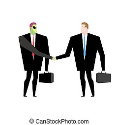 Deal with  UFO. Businessman and alien conclude case. Martian and man shake hands. Handshake humanoids. Agreement between space ambassador and ambassador of earth. Green space businessman with Mars