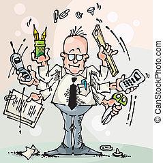 Dealer-Broker-Manager - Businessman and office clerk at work...
