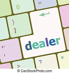 dealer button on keyboard with soft focus vector illustration
