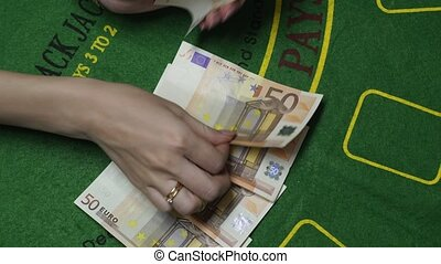 Dealer Counting Money Euro Cash In Casino, Background Close Up