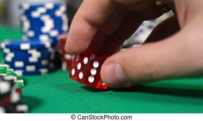 Hand Holding Two Dice - Dealer Hand Holding Two Dice On...