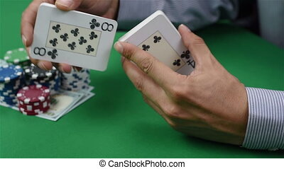 Dealer shuffles cards