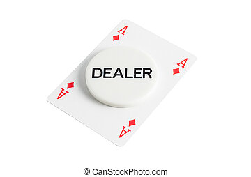 Dealer with casino card over white background