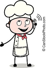 Dealing with Customer on Call - Cartoon Waiter Male Chef Vector Illustration?