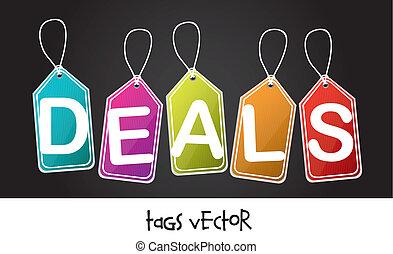 colorful deals tags over black background. vector illustration