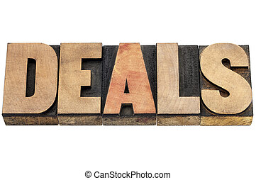 deals word in wood type