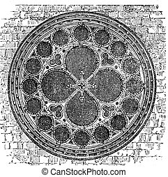 Dean's eye rose window in the North Transept of Lincoln Cathedral, England. Old engraving.