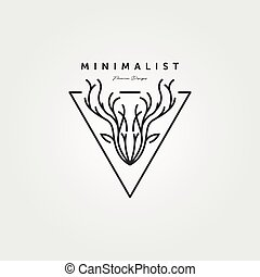 dear head line art logo vector minimalist illustration design