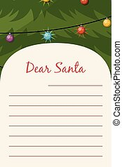 Dear Santa Christmas stationery template letter paper note.