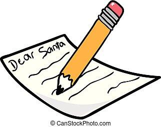 Vector illustration of a Dear Santa Letter icon or symbol