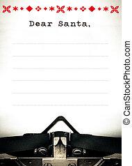 Dear Santa, Typewriter wish list letter