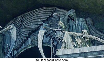 Death and braid. Terrible castle death with a scythe stone...