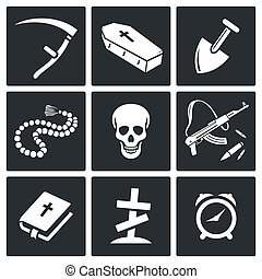 Death and burial icons set - Death and burial icon...
