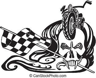 Death and checkered flag. Vector illustration. - Death and...