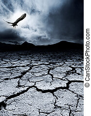 Death and Destruction - A bird flies over a desolate...