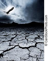 Death and Destruction - A bird flies over a desolate...