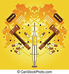Death and drugs - Grunge background with drug paraphernalia