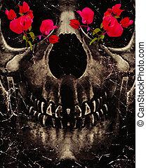 Death and Flowers - Dark photo collage concept artwork...