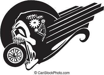 Death and wheel - Vector illustration. - Death and wheel - ...