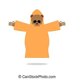 Death bear in yellow clothes reaches out his hands for hug. Skeleton of wild animal  Grim Reaper . Icon for Halloween.