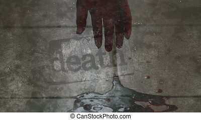 Death bloody hand mixed media CG and footage