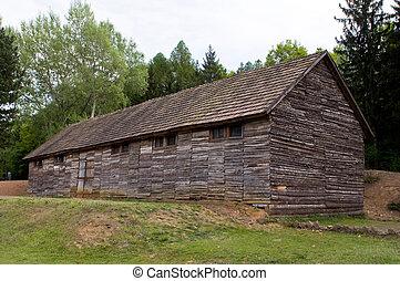 Death camp barrack