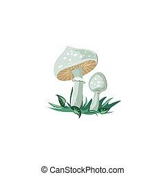 Death cap mushrooms vector illustration in flat cartoon ...