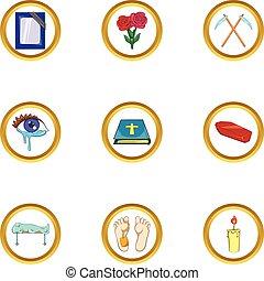 Death ceremony icon set, cartoon style